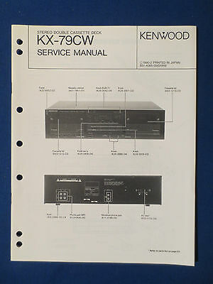 Kenwood Kx-79Cw Cassette Service Manual Original Factory Issue Good Condition