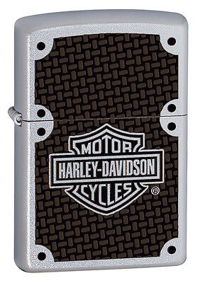 Zippo Harley Davidson Satin Chrome LIghter With Carbon Fiber Logo, #  24025, NIB