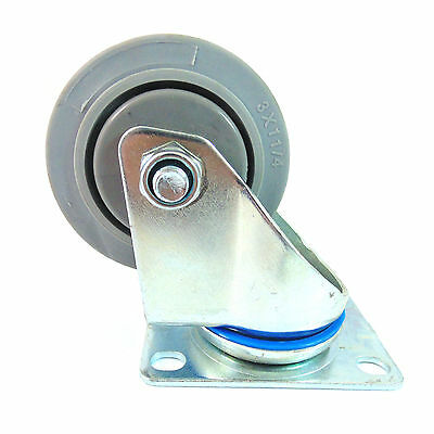 "Swivel Plate Caster w/ 3"" Non Marking Soft Gray Rubber TPR Wheel-CTPR3SS"