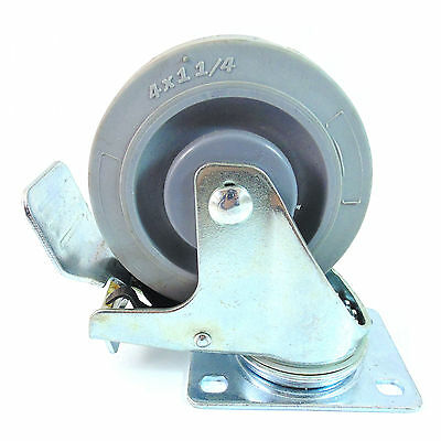 "Swivel Caster 4"" Non Marking Soft Gray Rubber TPR Wheel w/ Total Lock-CTPR4SSBR"