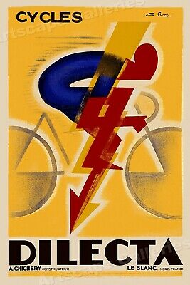 Cycles Dilecta 1926 Vintage French Bicycle Advertising Poster - 16x24