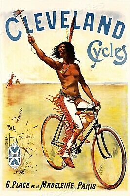 Cleveland Cycles 1897 Indian Vintage PAL Bicycle Advertising Poster - 16x24