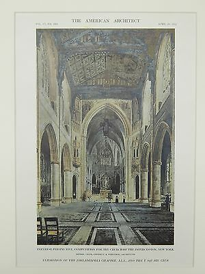 Interior, Church of the Intercession Competition, New York, NY, 1912, Orig. Plan