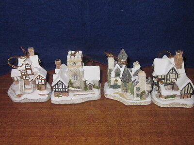 David Winters Cottages Lot Of 4 Christmas Ornaments Christmas Carol Scrooge Etc.