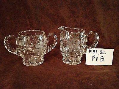 American Brilliant Cut Glass P&B Sugar and Creamer #31SC