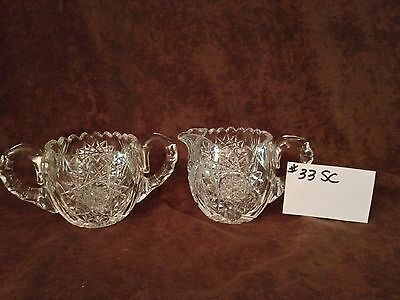 American Brilliant Cut Glass Sugar and Creamer #33SC