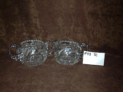 American Brilliant Cut Glass Sugar and Creamer #43SC