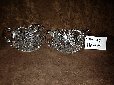 American Brilliant Cut Glass Hawkes Sugar and Creamer #45SC
