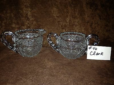American Brilliant Cut Glass Clark Sugar and Creamer #46SC
