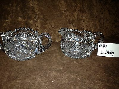 American Brilliant Cut Glass Libbey Sugar and Creamer #47SC