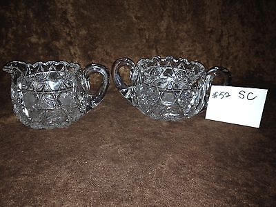 American Brilliant Cut Glass Sugar and Creamer #52SC