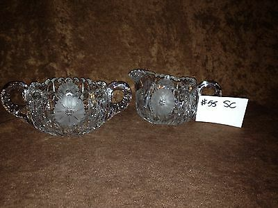American Brilliant Cut Glass Sugar and Creamer #55SC
