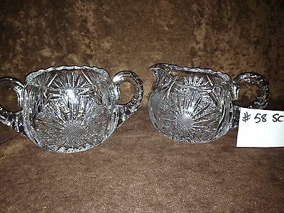 American Brilliant Cut Glass Sugar and Creamer #58SC