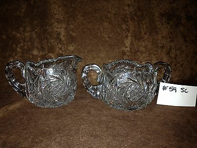 American Brilliant Cut Glass Sugar and Creamer #59SC