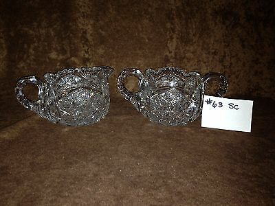 American Brilliant Cut Glass Sugar and Creamer #63SC