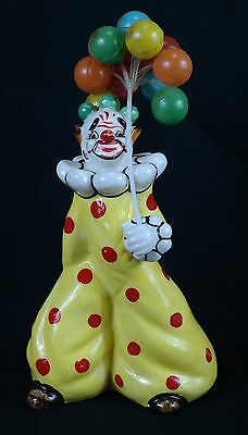 RARE - VTG Yona Original Gold Signed 1957 Yellow & Red Clown w/ Balloons