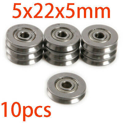 10x HCS V625ZZ V Groove Wire Guide Pulley Rail Ball Bearings Wheel 5x22x5mm