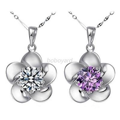 Charming Lady 925 Sterling Silver Colorful Crystal Flower Pendant Necklace Chain