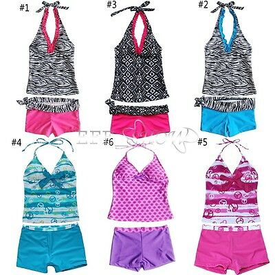 Girls Halter Tankini Swimsuit Swimwear Swimming Costume Bathing Age 5-16 Years