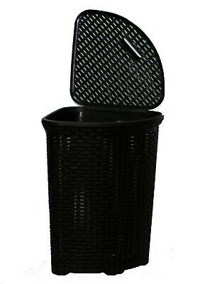 52L Large Woven Plastic Corner Laundry Bin Washing Multi Storage Basket  Black
