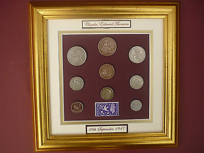 PERSONALISED FRAMED 1947 COIN SET  70th BIRTHDAY GIFT 2017