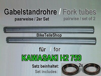 2x Fork tube (pairwise) for KAWASAKI H2 750 KH750 72-75 incl. set of 2 x gasket