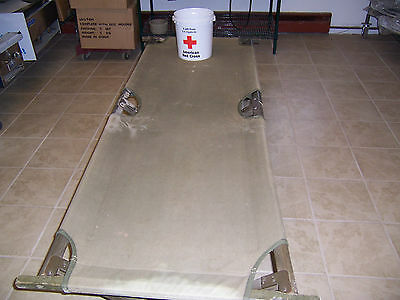 1945 US Army Cot on Wood Frame and Hurricane Irene Red Cross Donation Bucket