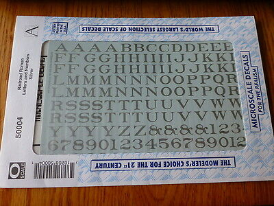 Microscale Decal #50004 Railroad Roman Letters & Numbers Silver (O Scale)