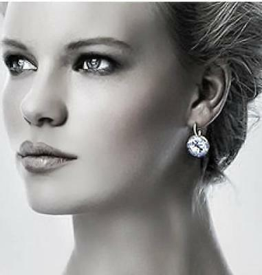 Round Bella Earrings Clear Genuine Swarovski Crystal Silver Plated Bezel Lever