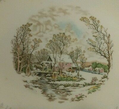 Knowles China Royal Monarch Currier & Ives Winter Mill 22K Gold Rimmed