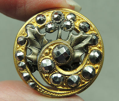 SPIRAL BRASS OPENWORK BUTTON W/ CUT STEELS    METAL