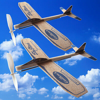 2 New Wooden Balsa Airplanes Rubber Band Retro Model Toy Plane Airplane Flys