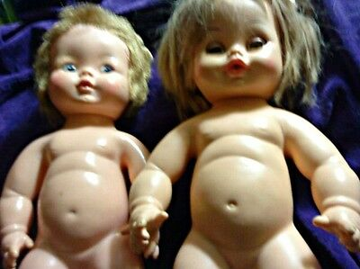LOT OF 2 VINTAGE ADORABLE DOLLS - ONE MARKED HORSMAN - DATED 1971 !