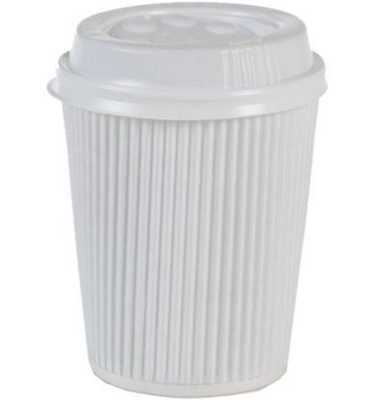 WHITE INSULATED RIPPLE HOT DRINKS PAPER COFFEE CUPS 8oz
