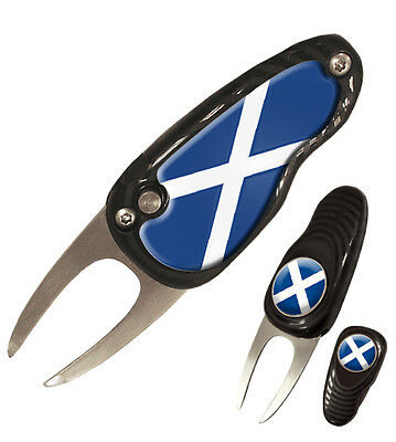 New Scotland Deluxe Pebble Divot Tool Pitchmark Repairer with Ball Marker