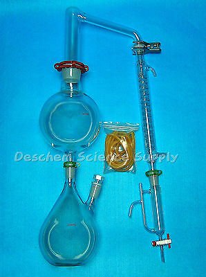 Glass Essential Oil Steam Distillation Apparatus,Graham Condenser,W/Clamps