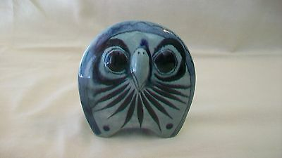 HAND PAINTED, BLUE CERAMIC OWL FIGURINE MADE IN MEXICO