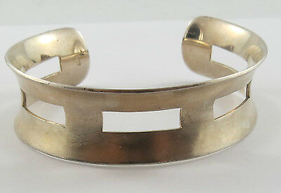 Br-25 925 Silver 3/4 Wide Cuff Bracelet With Matt Finish On The Outside, See Pic