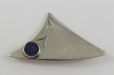"""P-40 925 Silver Modern Lapis Brooch Signed Pepe Maureen, Measures 1 1/4"""" X 1"""""""