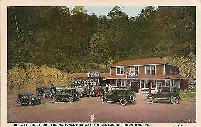 Big Watering Trough on National Highway East of Uniontown PA Postcard