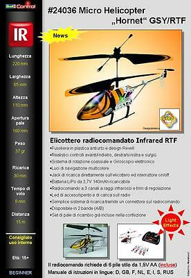 (PRL) REVELL MICRO ELICOTTERO HORNET RADIOCOMANDATO 3 CANALI CH GYRO IR INFRARED