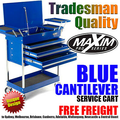 MAXIM Blue Cantilever Service Cart Tool Chest Cabinet Toolbox Trolley Drawers