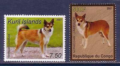Norwegian Lundehund Dogs 2 different MNH stamps