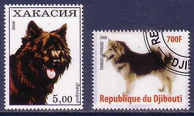 Finnish Lapphund Dogs 2 different stamps