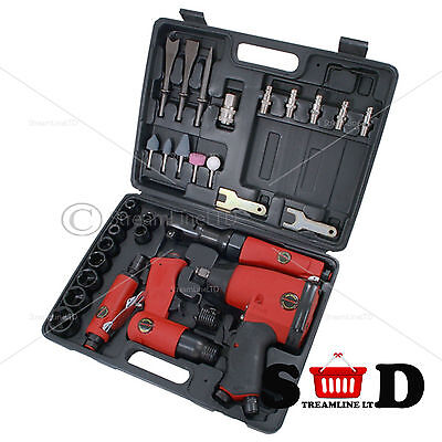 33 Pc Complete Garage Air Ratchet Impact Wrench Grinder Hammer Chisel Kit Ct1091