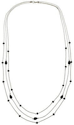 """BT-Jeweled """"Jet Three Strand Chain and Faceted Jet Bead NECKLACE"""" (74851NKJEHBT)"""