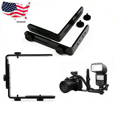 Double Dual L-Shaped Metal Bracket/Holder Mount Speedlite Flash F DSLR Camera