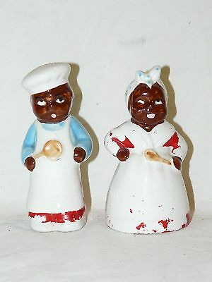 1950's Black Americana Chefs Mammy and Pappy Salt Pepper Shaker Set Relco? Japan