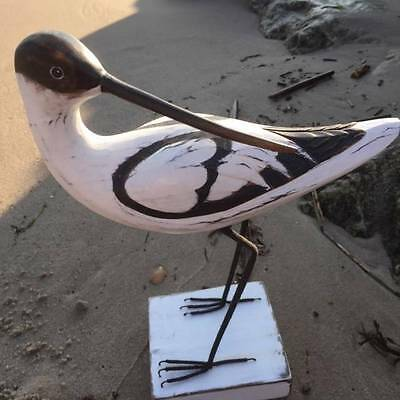 Wooden Avocet Standing on Wooden Plinth 31cm High Seaside Beach Home RSPB Emblem