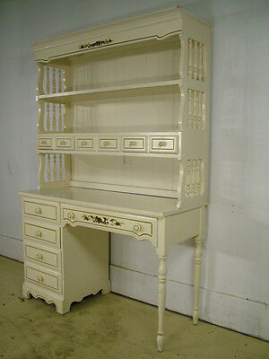 Vintage Country Vanity Desk Bookcase Cabinet Factory Painted Decorated by Dixie
